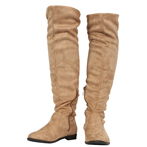 Heel Womens COLLECTION 8 up HIGH Zip Knee The Suede Mushroom Ladies Size Over Boots CORE Stretch Low Block Shoes 3 Avx5dqwnTO