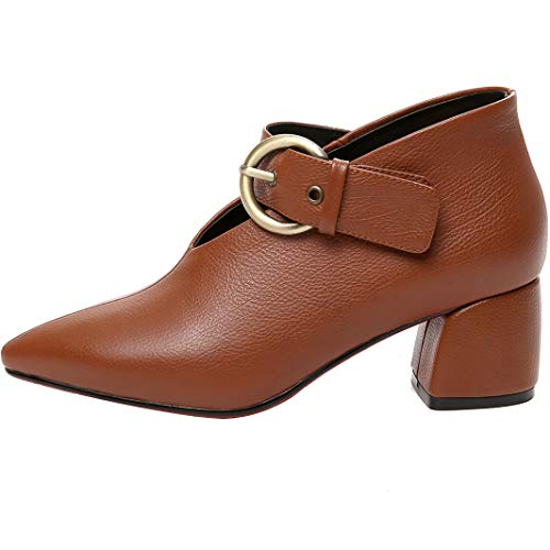 Leather cm 5 Ankle Brown Jushee Womens Boots Heel Juappoi mid 5 Buckle qz4OSw