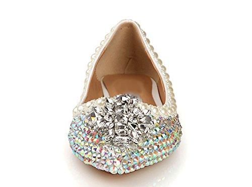 L yc Planos Fiesta De Blanco Zapatos Rhinestone Y Mujer Noche Puntiagudos White qqSr1w