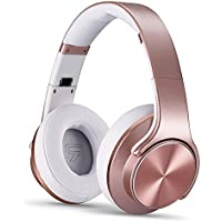 NXET Bluetooth Headphones and Speaker with Microphone Noise Cancelling Hi-Fi Deep Bass Wireless Headphones Over Ear, Comfortable & Evaginable 30 Hours Playtime for Travel Work TV Computer - Rosegold