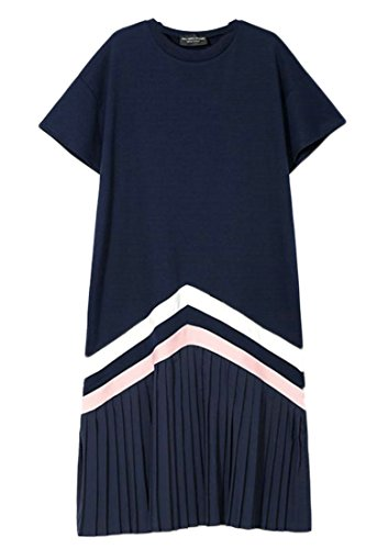 Neck Pleated Cromoncent Striped Womens Blue Round Summer Dress Hem Loose Long PqwFwEr0C