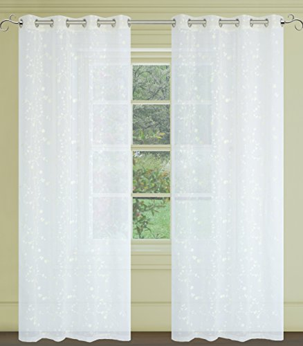Tiffany Embroidered Floral Sheer Voile 2-Piece Grommet Curtain Set, 54×95 inch, Ivory