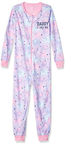 The Children's Place Baby Girls' Toddler Novelty Printed One Piece Long Sleeve Footed Sleeper, Pink Lavender, 5 T ()