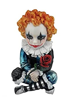 4.75 Inch Poly Stone Cosplay Kids Jester Holding A Rose Figurine