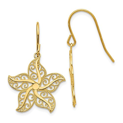 Earrings 14k Starfish (14k Yellow Gold Filigree Starfish Shepherd Hook Earrings (1.1IN x 0.7IN))