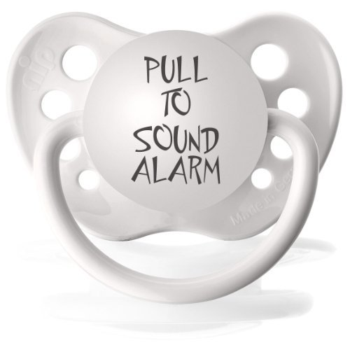 Personalized Pacifiers Pull to Sound Alarm Pacifier in White