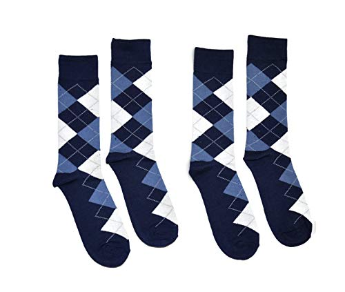 - Bop Classy Men's Dress Crew Socks Argyle Pattern 2 Pair Set - Premium Cotton (Navy)
