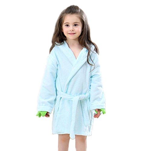 4 Lite Bath Light - Suyu Baby Catoon Long-Sleeved Bathrobe (3-6 Years, Light Blue)