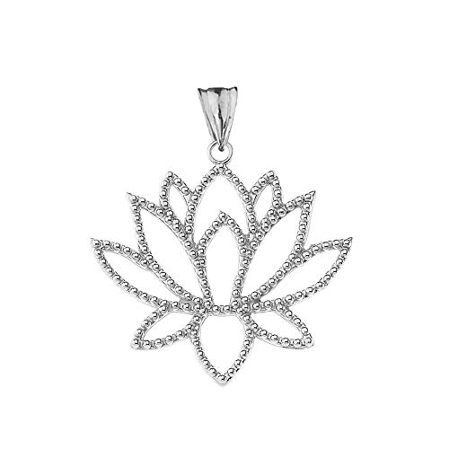 (Exotic Sterling Silver Lotus Flower Filigree-Style Outline Charm Pendant)