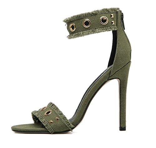 Sandales Femme Rivet Tip Fine Sandales Sexy avec Talons Hauts Chaussures De DiscothèQue Chaussures De Banquet, Green, 36 Haute qualité,Match Parfait