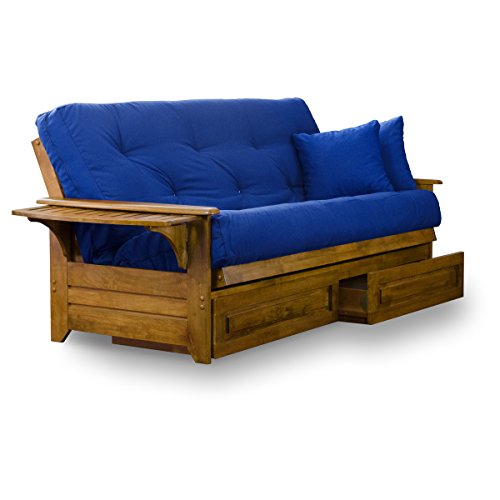 Nirvana Futons Brentwood Tray Arm Futon Frame, Drawers, and Royal Blue Mattress Set - Queen, Rich Heritage Finish