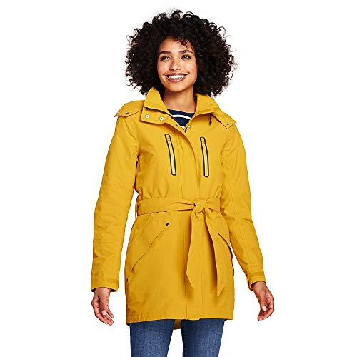 (Lands' End Women's Lightweight Belted Squall Rain Coat, M, Atlas Yellow)