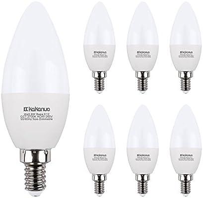 Bombillas LED Candelabra kakanuo 6 W, reemplazar 60 W E12 Base lámpara de araña bombillas, luz blanca cálida 2700 K B11 LED vela bombillas, paquete de 6