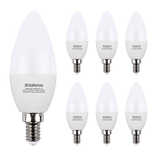 LED Candelabra Bulbs Kakanuo 6W Replace 60W E12 Base Chandelier Bulbs, Warm White 2700K B11 Led Candle Light Bulbs, Pack of 6