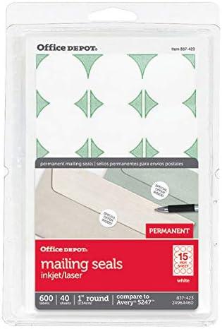 Office Depot permanente sellos de correo, 1 en. Diámetro, blanco ...