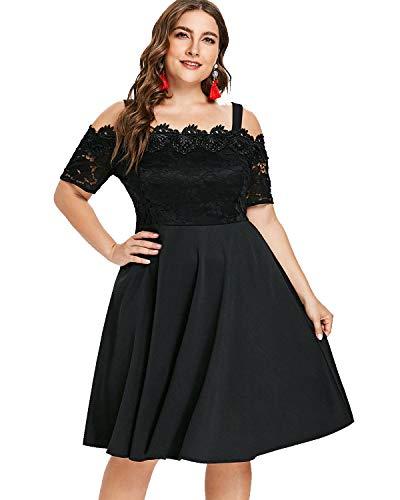 GAMISS Women s Vintage Off Shoulder Cocktail Dress Plus Size Floral Lace  Dress Short Sleeve (S 4e74fdeae3bf