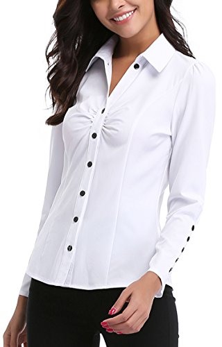 MISS MOLY Women's White Button Down Shirt V Neck Collar Puff Sleeve Office M by MISS MOLY (Image #2)'