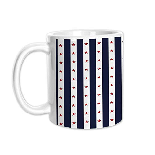 - USA Stylish White Printed Mug,Happy Fourth of July Famous Day of States with Vertical White Stripes and Stars Decorative for Living Room Bedroom,3.1
