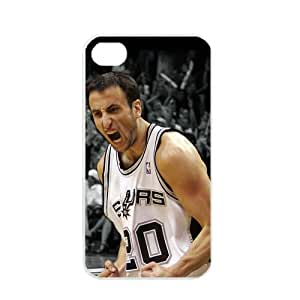 NBA San Antonio Spurs Manu Ginobili Apple iPhone 4 4S TPU Soft Black or White cases for basketball Spurs fans (White)