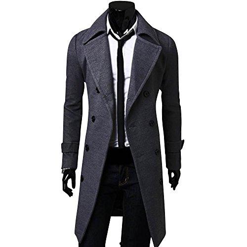 [アルファーフープ] メンズ ファッション シンプル シック ロング コート 上着 無地 長袖 アウター 大きいサイズ 大人 男性
