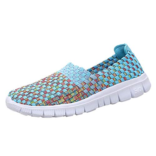 Pongfunsy Women's Lazy Shoes 2019 New Breathable Shoes Comfy Elastic Belt Hand-Woven Shoes Sport Running Single Shoes Sky Blue ()