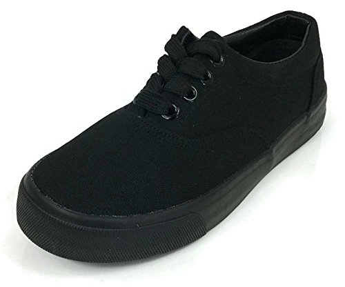 DN Collection Boys Kids Classic Lace-Up Tennis Skate Sneakers Black/Black 6 from DN Collection