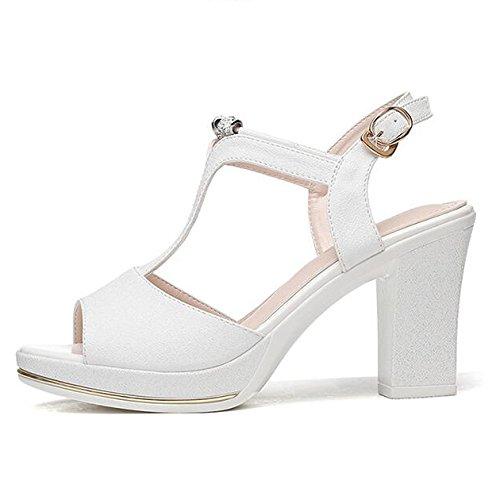 Soirée Mi Chaussures Haut Sandales White Talon Peep Slingback T Robe De Parti Dames Femmes Toe Bar Bal XwfxUZZn