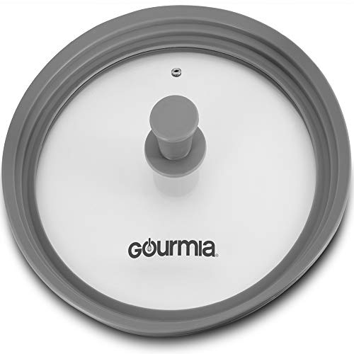 Gourmia GPL9370 Universal Lid for Pots, Pans and Skillets - Tempered Glass with Extendable Silicone Rim - Fits 10.5