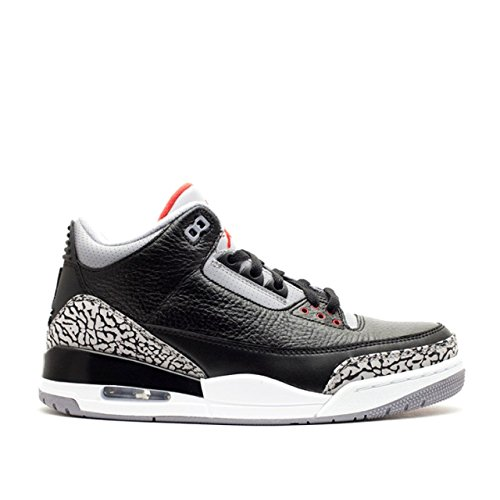 Jordan Air 3 Retro OG Men's Basketball Shoes Black/Fire Red/Cement Grey 854262-001 (11.5 D(M) US)