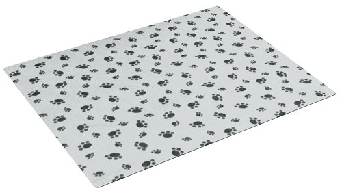 Drymate Large Kennel Mat with Paw Imprint Design, 28-Inch by 42-Inch, Grey