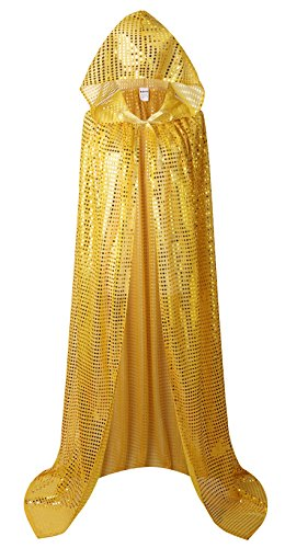 Hooded Cloak Full Length Colored Sequins Goddess Cape for Halloween Christmas Cosplay Costumes (Gold) -