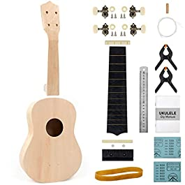 170 Sets DIY Soprano Ukulele Kit For Beginners Kids Build Your Own Uke with Full Accessories&Black Bag