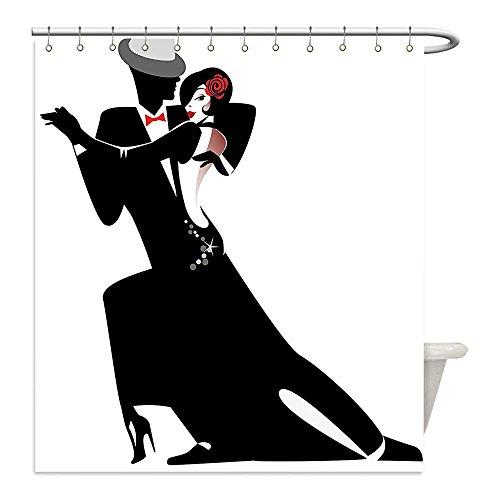 Costume In Tango Dance (Liguo88 Custom Waterproof Bathroom Shower Curtain Polyester Girls Decor Man and Woman Partners Romantic Dance Tango Waltz Lovers in Rhythmic Music Art Print Black White Decorative bathroom)