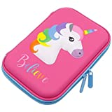 Pencil Case, Unicorn EVA Pen Pouch Stationery Box Anti-shock for School Students Girls Teens Kids (Pink)