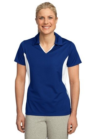 Sport Tek Women's Side Blocked Performance Polo Shirt, True Royal/White, X-Large