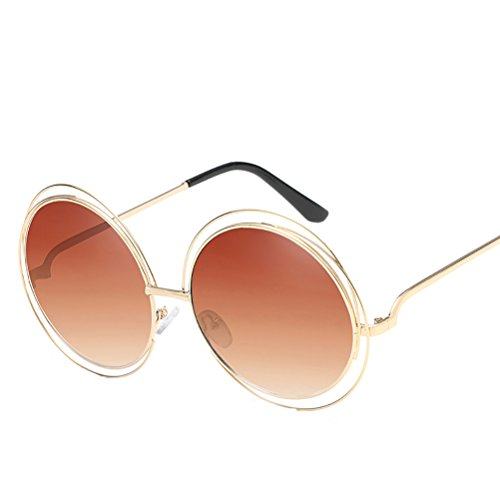 des sunglasses womens Glasses metal Gold de for Zhhaijq mens Round lunettes Frame Tea soleil with Case UH8Y1nUdqw