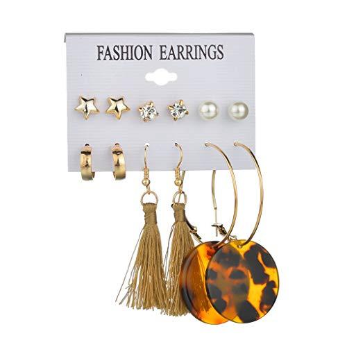 XBKPLO Earrings for Women's Fashion Star/Diamond/Pearl Drop Dangle Tassel Earring Simple Large Hoop Ladies Jewelry 6 Pairs Suit