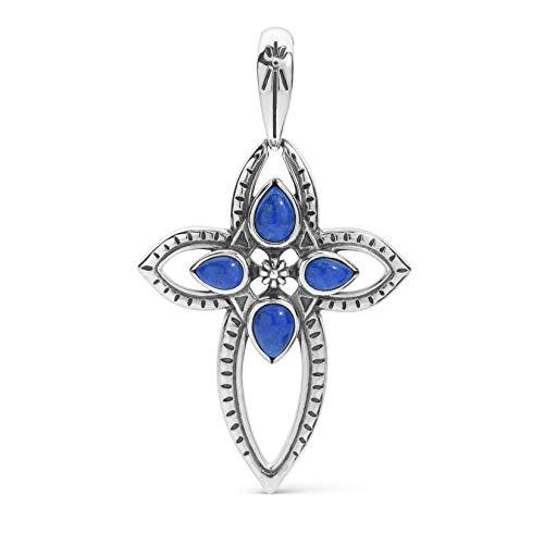 Lapis Enhancer Pendant - American West Sterling Silver Blue Lapis Gemstone Cross Pendant Enhancer