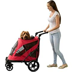 Pet Gear's NO-ZIP Excursion Pet Stroller has many new, exciting features. This stroller offers a spacious, comfortable ride for both single and multiple pets. It features two easy-locking doors. Pets can easily enter the stroller from the fro...