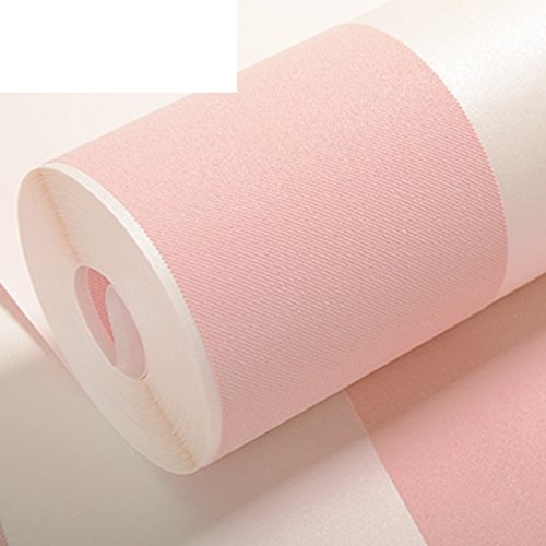 Child Princess room wallpaper/non-woven wallpaper/girl in the bedroom wallpaper/vertical stripes wallpaper/pale pink wallpaper-A
