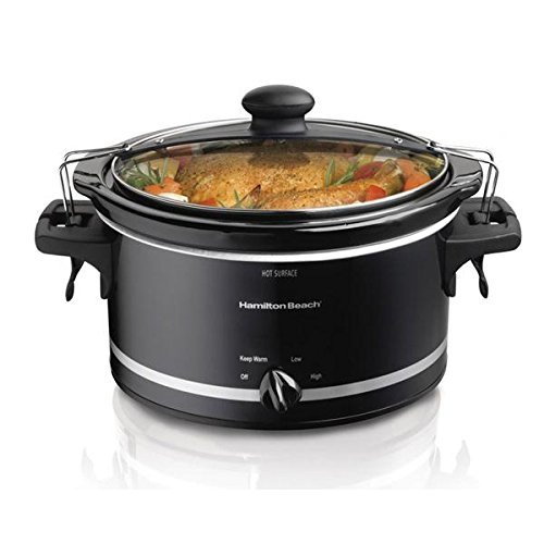 Stay or Go Slow Cooker, Clip - Tight Sealed Lid Locks, Dishwasher Safe Stoneware and Lid, Full - Grip Handles, Low, High and Warm Settings, 4 Qt Capacity. by Stay Or Go Slow Cooker