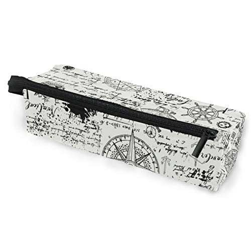 Bardic Vintage Compass Caravel Print Pen Pencil Case Stationery Sunglasses Zipper Pouch Makeup Cosmetic Bag with Handle for School Office Travel