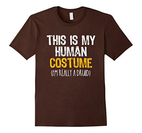Druid Halloween Costume (Mens This Is My Human Costume Druid Halloween Funny T-shirt Large Brown)