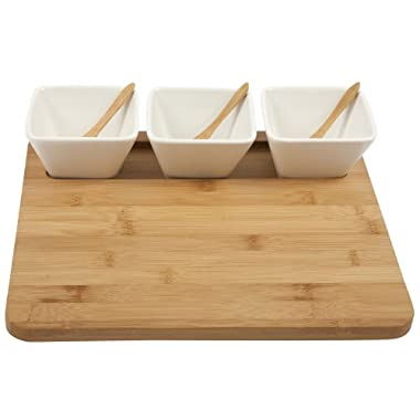 Core Bamboo 3-Part Square Entertainment Set, Natural/White
