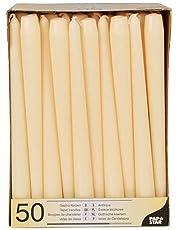 Papstar Kandelaars/houderkaarsen champagne (50 stuks) 2,2 x 25 cm, lange brandduur ca. 7 uur, roetvrij branden, voor gastronomie, feesten en feesten, #17967
