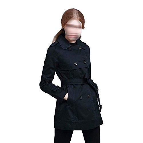 Frau Wind Frauen Klassische Zweireihigen Langen Mantel Jacke Multicolor Multi-Größe,Black-m