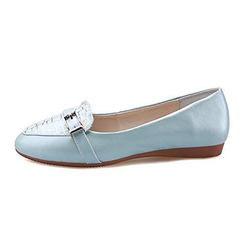 Heels Pumps Pointed Pull Pu Toe Color On Low Assorted AmoonyFashion Womens Shoes Closed Blue vU5ncPq