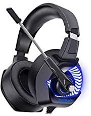 ONIKUMA Gaming Headset PS4 Spiel Kopfhörer 7.1 Surround Sound LED 4D Stereo Noise Cancelling mit Mikrofon Gaming Kopfhörer für Xbox1 Switch Tablets Handy.