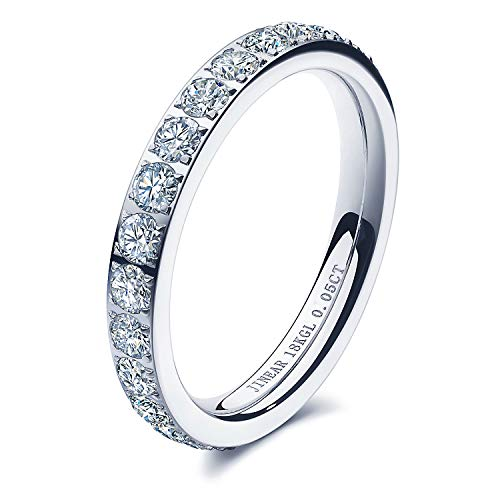 JINEAR Women Wedding Bands 3mm Engagement Rings for Women 18K Gold Plated Cubic Zirconia Eternity Rings Dainty Diamond Wedding Anniversary Band Size 5 to 9 Gift for Her (Silver, 7)
