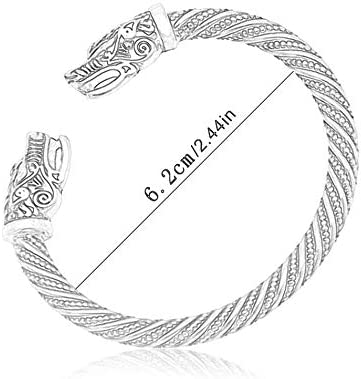 Silverdewi Braccialetti Vichinghi apribili a Mano Testa di Lupo Bracciale Aperto Bracciale Uomo retr/ò Gioielli Braccialetto Regalo Argento Antico